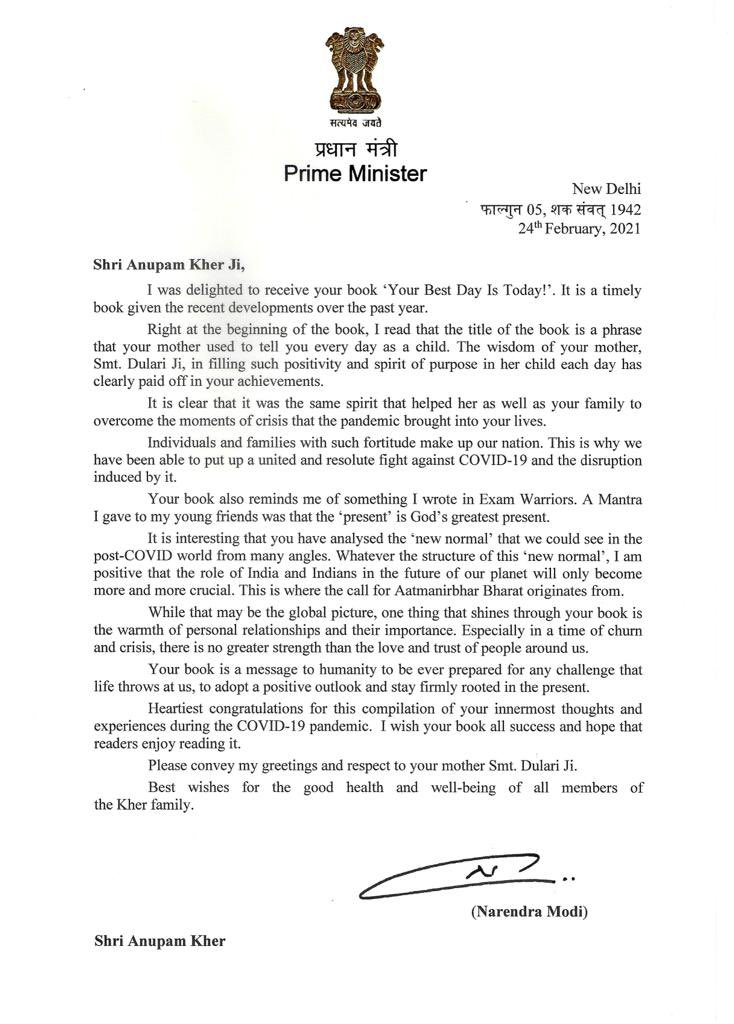 Hon. PM  @narendramodi  ji ! Thank you for this beautiful & encouraging letter about my book #YourBestDayIsToday.