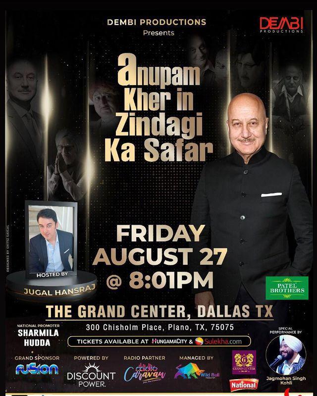 Anupam kher commences his Zindagi ka Safar play in USA